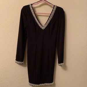 Black dress with pearl detail